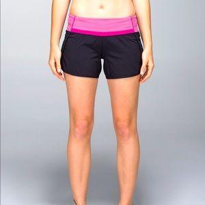 Lululemon Run Times Speed Shorts Black Pink  Tall